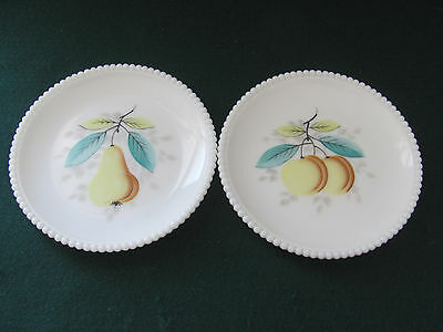 "Pair Of Westmoreland Milk Glass 7"" Fruit Decorated Plates W Beaded Edges"