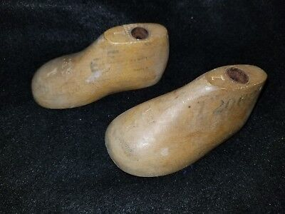 Vtg Baby Childrens Infants 1 Pair WII SIZE 1E Wooden Shoe Lasts Molds Cobbler