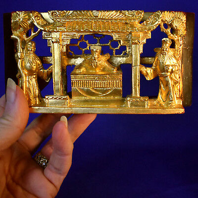 Small Antique Chinese Chaozhou Hand Carved - Figural - Gilt Wood Panel
