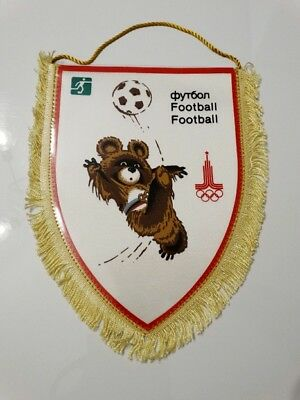 MOSCOW 1980 Olympic Games Football Misha NOC pennant vintage 80's