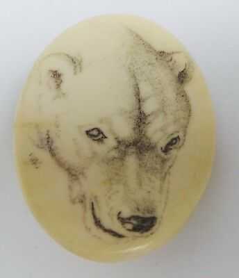 Antique Inuit Signed Polar Bear Head Brooch - Signed Ink Drawing