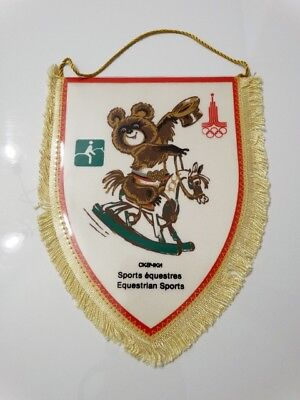 MOSCOW 1980 Olympic Games Equestrian Misha NOC pennant vintage 80's