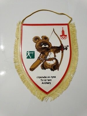 MOSCOW 1980 Olympic Games Archery Misha NOC pennant vintage 80's