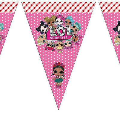 LOL Surprise Birthday Party Banner Girls Decoration Tableware Kids Flag