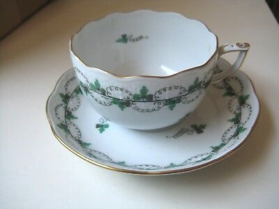 Estate Herend Green Persil Parsley Pattern Tea Cup And Saucer