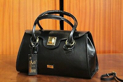 VERSACE 19.69 Women s 100% Leather Black Handbag FreeP P Italy Made New ... 615c1374b2954