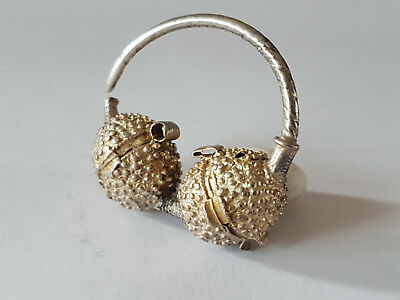 Ancient Byzantine Silver Gilt Earring 9-11 Ad