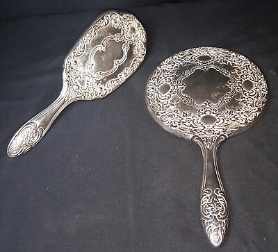 Vintage Silver Plated Mirror and Brush Vanity Dressing Table Set
