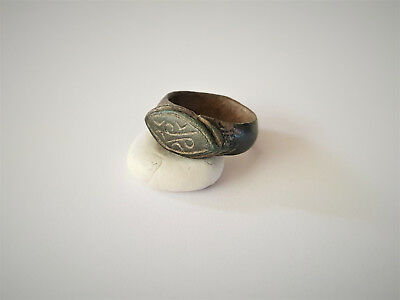 Medieval Viking Period Bronze Engraved Runic Motive Ring 8-10 Ad