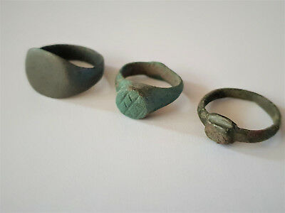 Lot Of 3 Ancient Roman  Bronze Rings 2-4 Ad