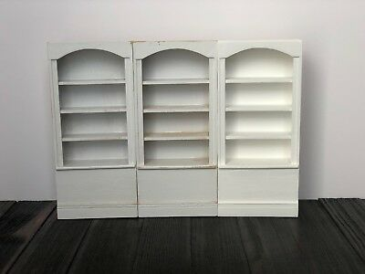 "Pre-Owned 3 Piece Dollhouse Miniature Tall White Bookshelves ""Customizable"""