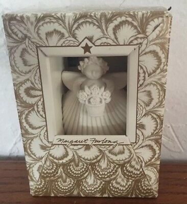 Collectible Margaret Furlong Angel Ornament Holding A  Basket Of Flowers  New
