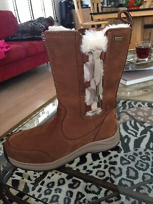 dd52ba60bbe UGG SUVI WATERPROOF Chestnut Leather Fur Winter Snow Boots Size US 7 ...