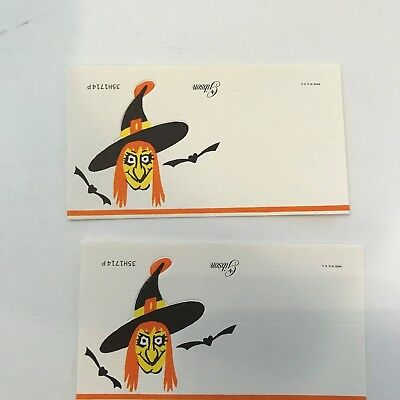 2 Old Vintage Cardstock Halloween Place Name Card Witch Bats Gibson