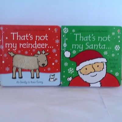 2 Christmas Books That's Not My Snowman Santa Reindeer Touchy-Feely Bundle Board