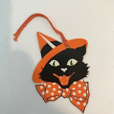 Vintage Cardboard Halloween Bridge Tally Score Card Black Cat Witch Hat Unused