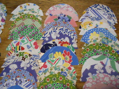 Vintag Antique 100 Clam Shell Quilt Blocks ALL Feedsack Cotton 3 1/2X4 1/2 1940s