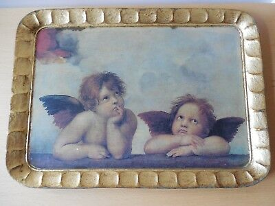 Vintage, Italian, Destressed Gold Painted, Rectangle, Wooden Tray, Cherub Design