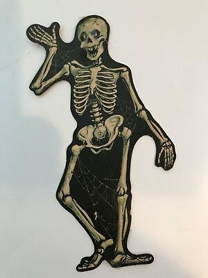 Old Vintage Halloween Cardboard Diecut Die Cut Out Skeleton Beistle Dennison 60s