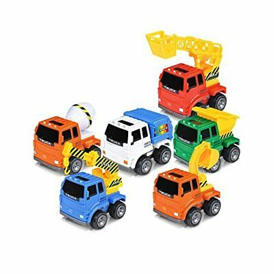 AMGlobal Push and Go Friction Powered Car Toys, 6 Pcs Construction Vehicle KIDS