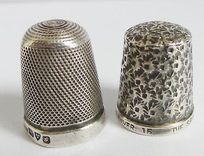 2x SILVER ANTIQUE THIMBLES - THE SPA by H.G & S AND CHESTER HALLMARKED - SIZE 15
