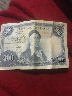 1954 Spain 500 Pesetas Note - - Banco de Espana