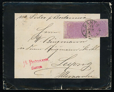 Brazil 1890 mourning cover to Germany franked with two 100r lilac-rose, SC 101