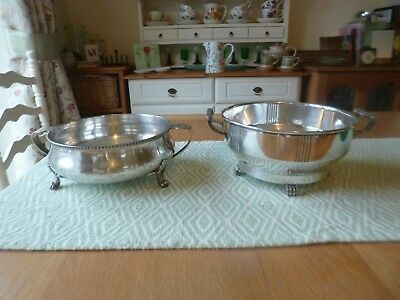 Antique Large Silver Plated Bowls with Handles