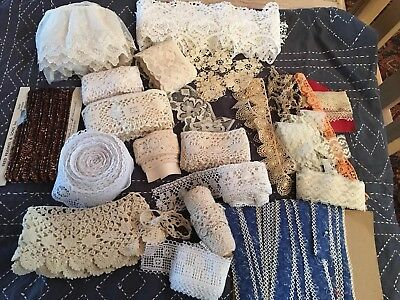 Vintage Lace and Trim Scraps Yards Pieces Cutting Crafts Rescued Recycled Lot