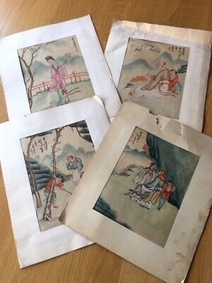 Chinese figurative paintings on silk