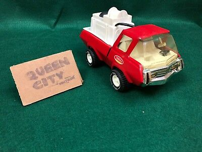 "Vintage Tonka gas turbine fire truck with water pumper bed 1980s 8"" Red"