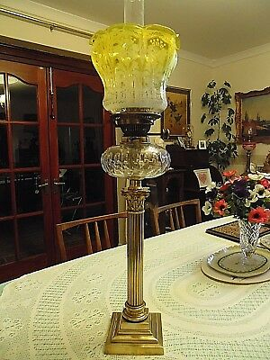 "A Genuine Antique Hinks & Son 26.3/4"" Tall Corinthian Column Oil Lamp."