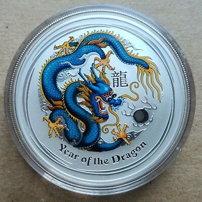 2012 1 oz Australian Pure Silver Lunar Year of The Dragon Colorized BLUE YELLOW