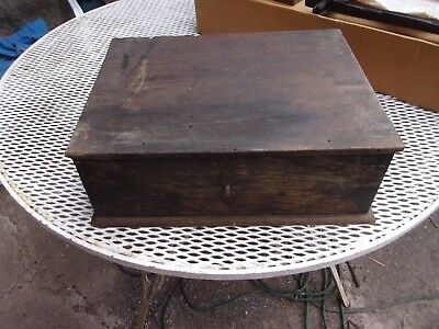 Antique Hand Made Wooden Box With Tray
