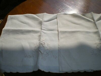 Pair Of Chair Back Covers  Pretty Cut Out With Embroidery Flower1970's  Vintage