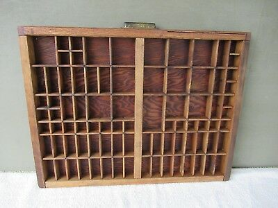 Antique Type Tray w/Handle Vintage Primitive Country Shadow Box, 86 Sections