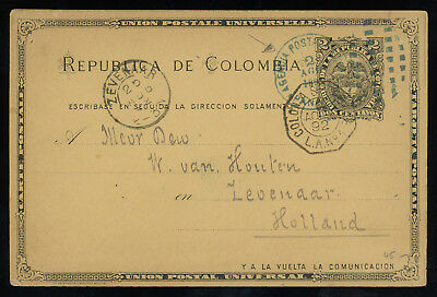 Colombia 1892 2c post card used in PANAMA and sent to the Netherlands, SCARCE