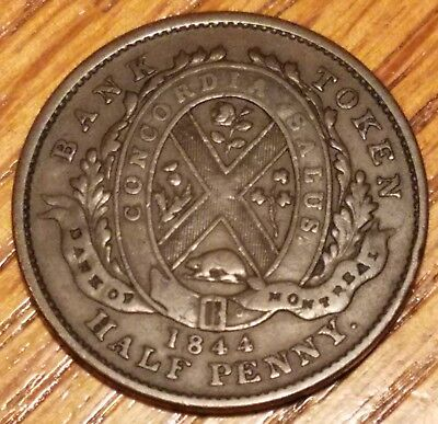 Canada 1844 Bank Token, Bank of Montreal 1/2 Penny