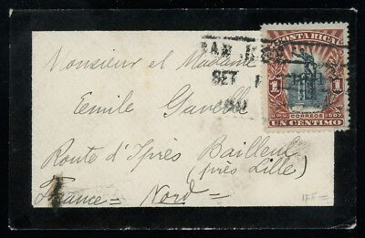 Costa Rica 1911 very small mourning cover to France franked with two 1c, SC 79