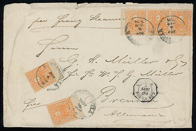 Colombia 1889 cover sent to Germany, franked with five 10c orange stamps, SC 131