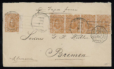 Colombia 1904 cover from Barranquilla to Germany, franked with imperf. 1p SC 216