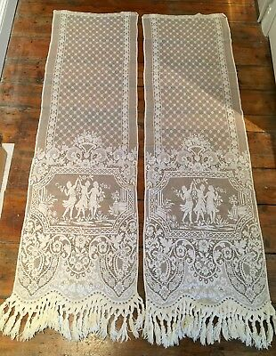 Pair of vintage lace curtains in two panels 1.8m long 1950s excellent condition