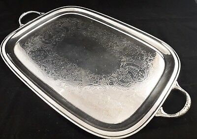 Superb Vintage English Ornate Silver Plated Butlers Serving Drinks Tea Tray Vgc