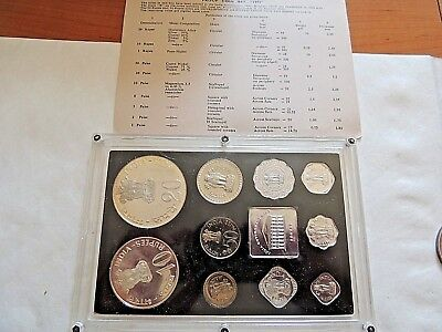1973 Republic Of India Mint Proof Coin Set In Lucite Holder