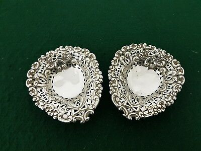 Pair of Antique HM 1894 Adie & Lovekin Pierced Sterling Silver Pin Dishes