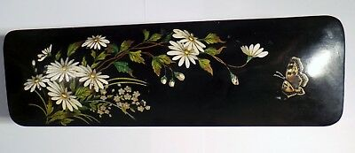 19th CENTURY JAPANESE LACQUERED GLOVE BOX - BEAUTIFUL HAND PAINTED DESIGN