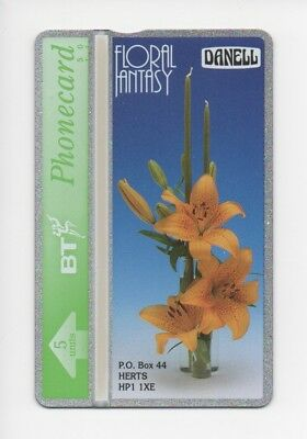 BT Phonecard BTP120, Danell, Floral Fantasy, Orange Lily, 5unit mint unused
