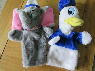 DISNEY FURRY HAND PUPPETS - DONALD DUCK & DUMBO - vintage from 80's