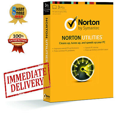 Norton Utilities 16 Symantec Life Time License for 3 PC'S Windows XP, 7, 8, 10