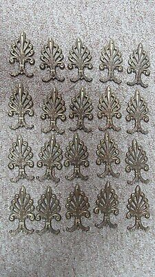 Lot of 20 Decorative Antique Brass Tone Furniture Trim